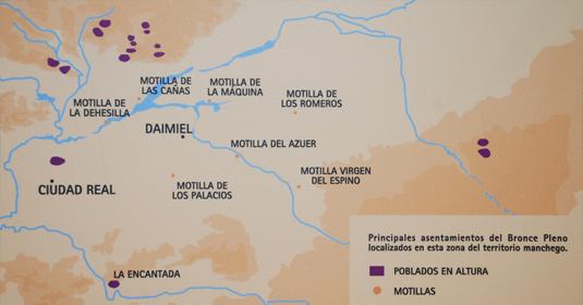 Mapa de los principales asentamientos del Bronce